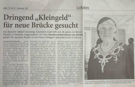 Susemarie Groß, Bundesverdienstkreuz, Zeitungsartikel Dürener Zeitung