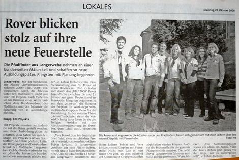 Dürener Zeitung 2008-10-21 Rover blicken stolz auf ihre neue Feuerstelle