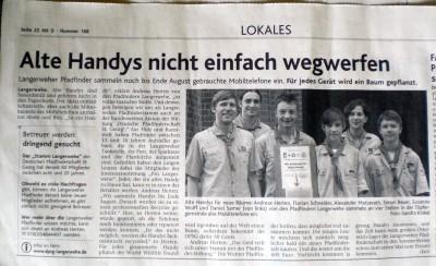 Zeitungsartikel Handyaktion